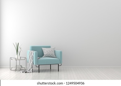 Modern living room with armchair. Scandinavian style interior design. 3D illustration