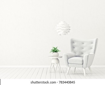 modern living room  with armchair. scandinavian interior design 