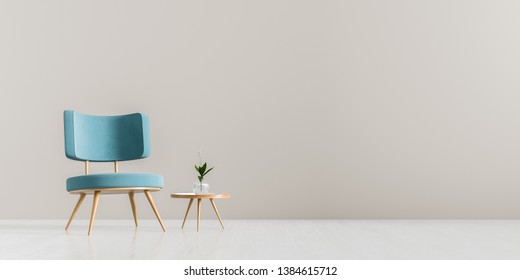 Modern living room with armchair and wooden small coffee table. Scandinavian style furniture design. 3D illustration.