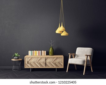 modern living room  with armchair yellow  lamp and black wall. scandinavian interior design furniture. 3d render illustration