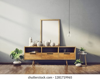 modern living room  with big frame on the wooden dresser. scandinavian interior design furniture. 3d render illustration