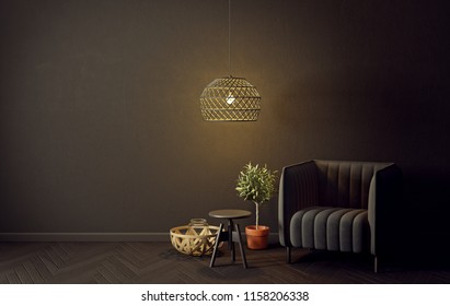 modern living room  with black  armchair and lamp. scandinavian interior design furniture. 3d render illustration with black wall