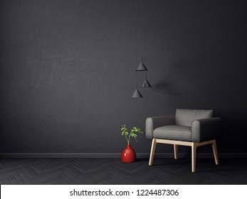 modern living room  with black  and lamp. scandinavian interior design furniture. 3d render illustration