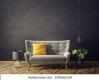 modern living room  with black wall and sofa. scandinavian interior design furniture. 3d render illustration