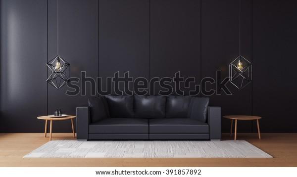 Modern Living Room Black Wall 3d Stockillustration 391857892