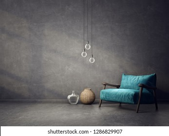 modern living room  with blue armchair and lamps. scandinavian interior design furniture. 3d render illustration