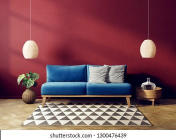 modern living room  with blue sofar and red wall. scandinavian interior design furniture. 3d render illustration
