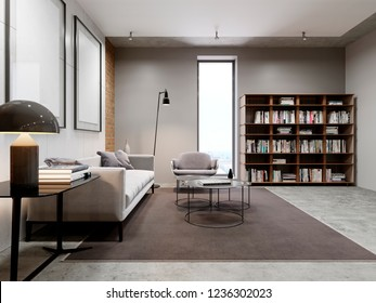 Modern living room and bookcase, library furniture with books. 3d rendering