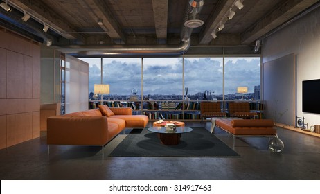 Modern living room with breathtaking night view - 3 d render (using 3 d s Max)