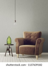 modern living room  with brown armchair and lamp. scandinavian interior design furniture. 3d render illustration