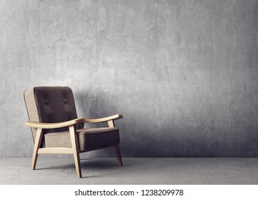 modern living room  with brown armchair and concrete wall. scandinavian interior design furniture. 3d render illustration