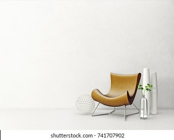 modern living room  with brown armchair and plant. scandinavian interior design furniture. 3d render illustration