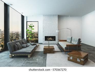 Modern living room in a condo or penthouse apartment with large low slung sofas with suitcase accents in a spacious bright room with floor to ceiling view windows overlooking a city, 3d rendering