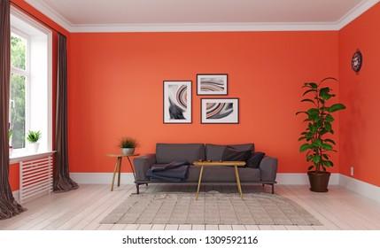 modern living room. living coral interior design. 3d rendering concept