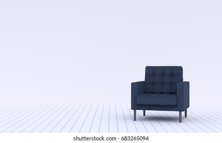 Modern living room with dark blue sofa on a middle, 3D rendering