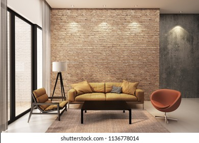 Modern living room decorate wall with orange brick wall. 3D Rendering