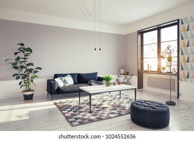 modern living room design. 3d rendering