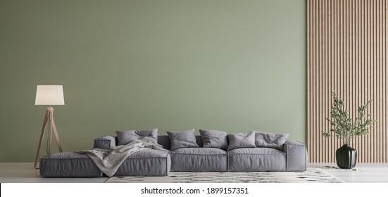 Modern living room design, gray sofa on green wall mockup, copy space, 3d render, 3d illustration