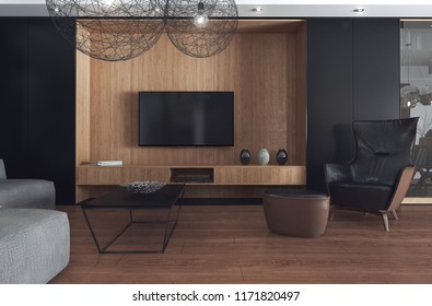 Modern living room designed as a combination of light wood and dark finishes. 3D illustration.