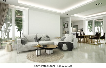 Modern living room and dining room interior design concept idea /3D rendering