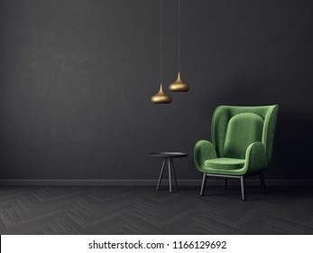modern living room  with green armchair and black wall. scandinavian interior design furniture. 3d render illustration