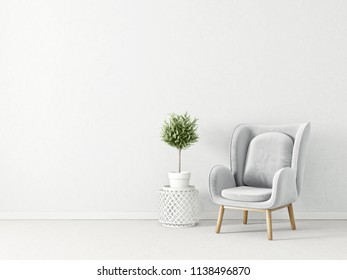 modern living room  with grey armchair. scandinavian interior design furniture. 3d render illustration