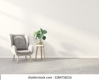 modern living room  with grey armchair and plant. scandinavian interior design furniture. 3d render illustration
