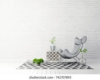 modern living room  with grey armchair and lamp. scandinavian interior design furniture. 3d render illustration