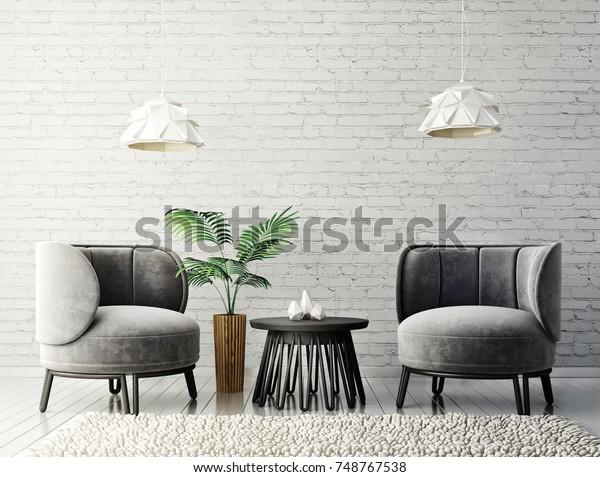 modernes Wohnzimmer mit grauen Sesseln und Stockillustration ...