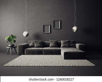 modern living room  with grey sofa and black wall. scandinavian interior design furniture. 3d render illustration