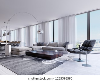 Modern living room with huge windows and designer armchair and dining table. 3d rendering