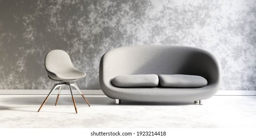 modern living room industrial style grunge concept with couch and chair and shabby walls 3d render illustration