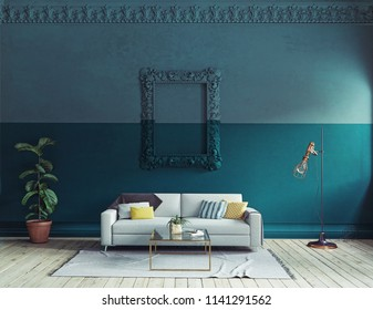 modern living room  interior. 3d rendering color blocking concept