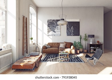 modern living room interior. 3D render concept