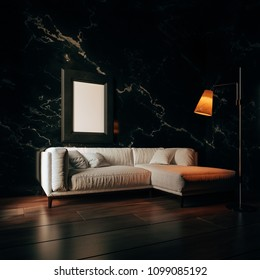Modern living room interior with black marble wall 3d rendering image. There are minimalist style decorate room with black frame for the poster, black furniture, floor, wall