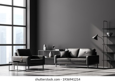 Modern living room interior, black wall and panoramic window with Singapore city view. Dark grey sofa and armchair, coffee table, bookshelves, lamp and chest of drawers. Concrete floor. 3D rendering