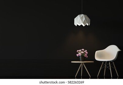 Modern living room interior with black wall 3d rendering image.There are minimalist style ,Empty black wall,white chair and wood desk