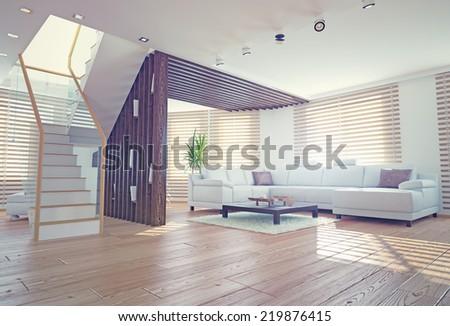 Modern Living Room Interior Contemporary Design Stock Illustration ...