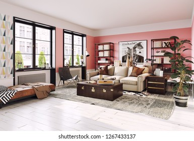 modern living room interior. Living coral design style. 3d rendering