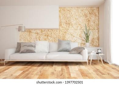 Modern living room interior design. 3D illustration
