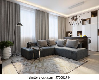 Modern living room interior design with bar counter and large corner sofa. 3d rendering
