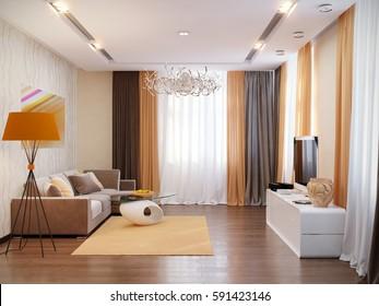 Modern living room interior design. 3d render.