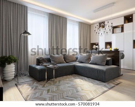 Modern Living Room Interior Design Bar Stock Illustration 570081934 ...
