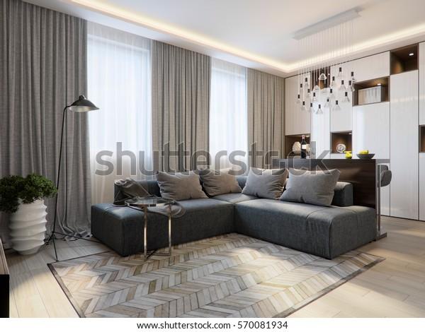 Modern Living Room Interior Design Bar Stockillustration ...