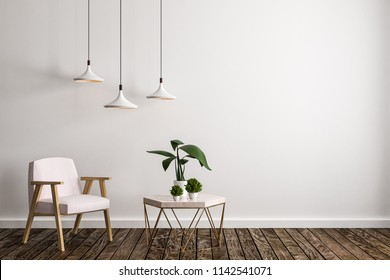 Modern living room interior with furniture, decorative plant, lamps, concrete wall and wooden floor. 3D Rendering