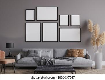 Modern living room interior, gray sofa on dark wall, gallery wall mockup, 3d render, 3d illustration