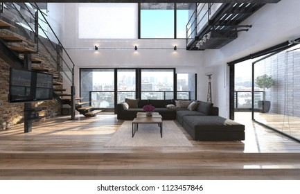 Modern living room interior in a penthouse. 3d Rendering
