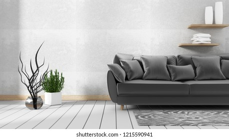 Modern living room interior with sofa and green plants,sofa on concrete  wall background. 3d rendering.