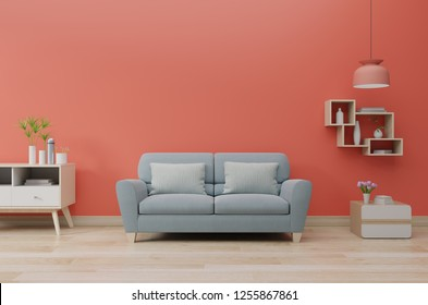 Modern living room interior with sofa and green plants,lamp,table on  living coral color of the Year 2019,3d rendering