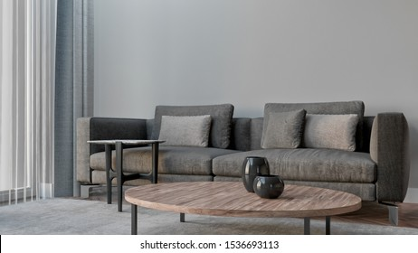 Modern living room interior with a sofa, lamp, table. 3D rendering.